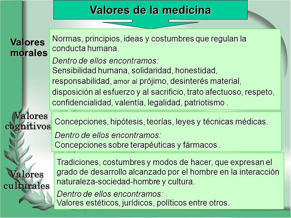 Valores de la medicina Normas, principios, ideas y costumbres que regulan la conducta humana. Dentro de ellos encontramos: Sensibilidad humana, solida
