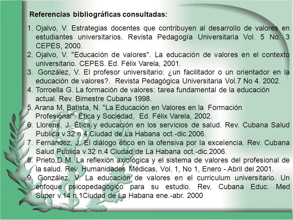 Referencias bibliográficas consultadas: 1.Ojalvo, V. Estrategias docentes que contribuyen al desarrollo de valores en estudiantes universitarios. Revi