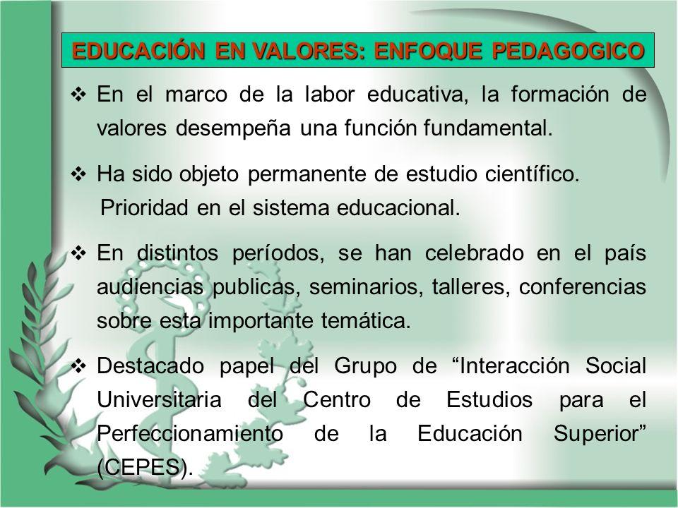 En el marco de la labor educativa, la formación de valores desempeña una función fundamental. Ha sido objeto permanente de estudio científico. Priorid