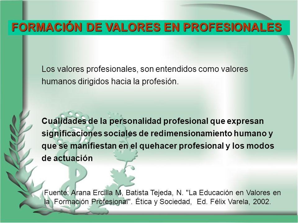 Los valores profesionales, son entendidos como valores humanos dirigidos hacia la profesión. Cualidades de la personalidad profesional que expresan si
