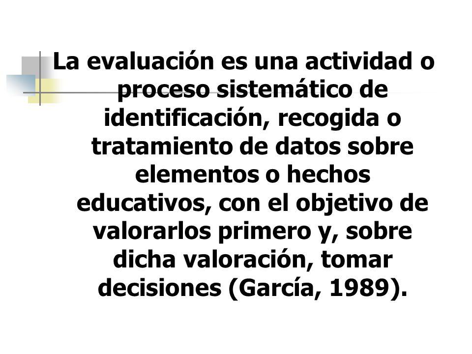 La evaluación es una actividad o proceso sistemático de identificación, recogida o tratamiento de datos sobre elementos o hechos educativos, con el ob