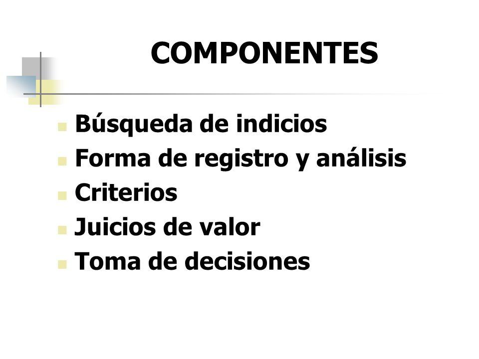 COMPONENTES Búsqueda de indicios Forma de registro y análisis Criterios Juicios de valor Toma de decisiones