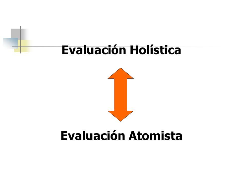 Evaluación Holística Evaluación Atomista