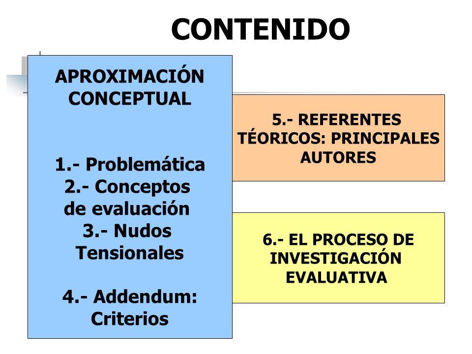 CONTENIDO APROXIMACIÓN CONCEPTUAL 1.- Problemática 2.- Conceptos de evaluación 3.- Nudos Tensionales 4.- Addendum: Criterios 5.- REFERENTES TÉORICOS: