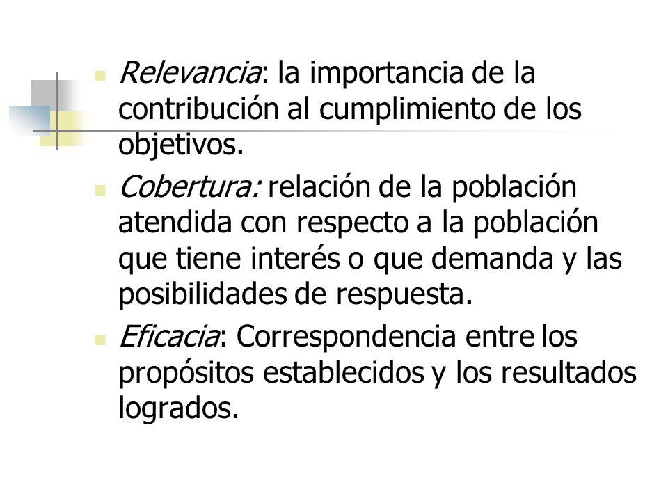 Relevancia: la importancia de la contribución al cumplimiento de los objetivos. Cobertura: relación de la población atendida con respecto a la poblaci