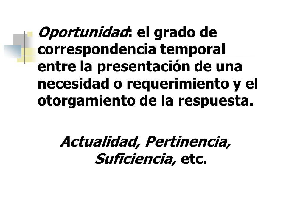 Oportunidad: el grado de correspondencia temporal entre la presentación de una necesidad o requerimiento y el otorgamiento de la respuesta. Actualidad