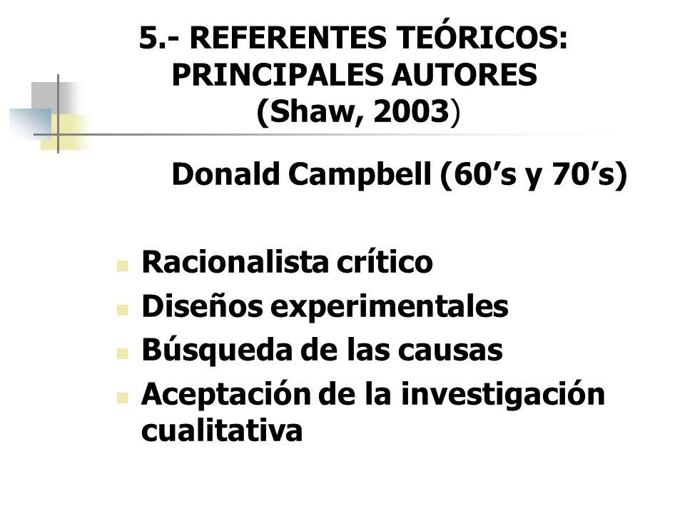 5.- REFERENTES TEÓRICOS: PRINCIPALES AUTORES (Shaw, 2003) Donald Campbell (60s y 70s) Racionalista crítico Diseños experimentales Búsqueda de las caus
