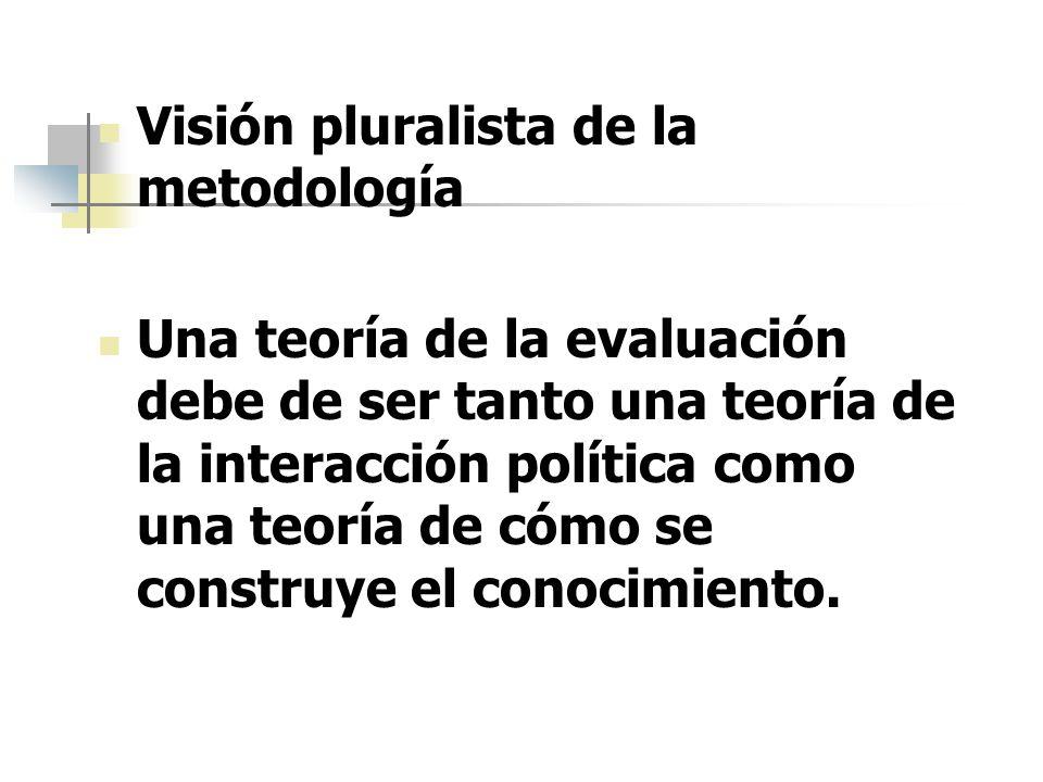 Visión pluralista de la metodología Una teoría de la evaluación debe de ser tanto una teoría de la interacción política como una teoría de cómo se con