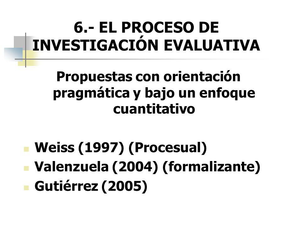6.- EL PROCESO DE INVESTIGACIÓN EVALUATIVA Propuestas con orientación pragmática y bajo un enfoque cuantitativo Weiss (1997) (Procesual) Valenzuela (2