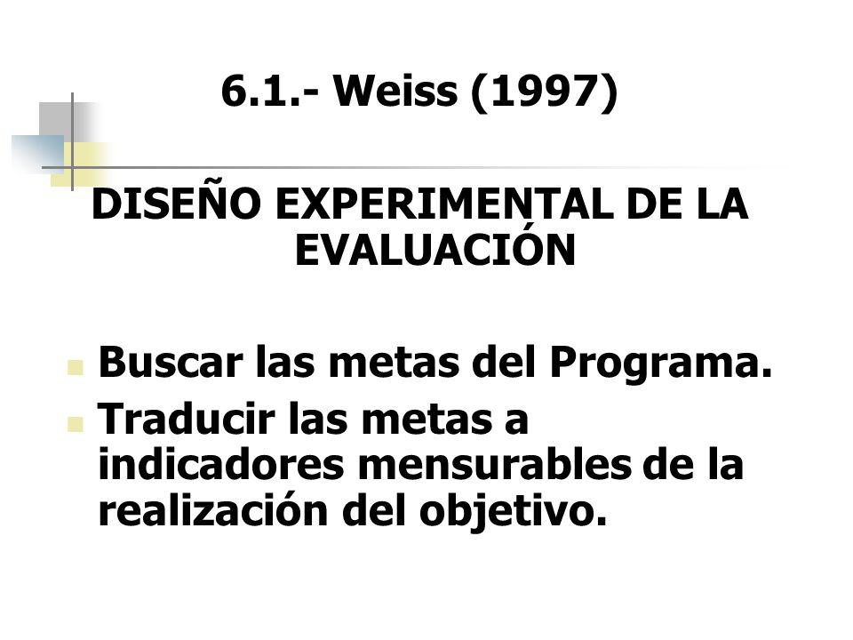 6.1.- Weiss (1997) DISEÑO EXPERIMENTAL DE LA EVALUACIÓN Buscar las metas del Programa. Traducir las metas a indicadores mensurables de la realización