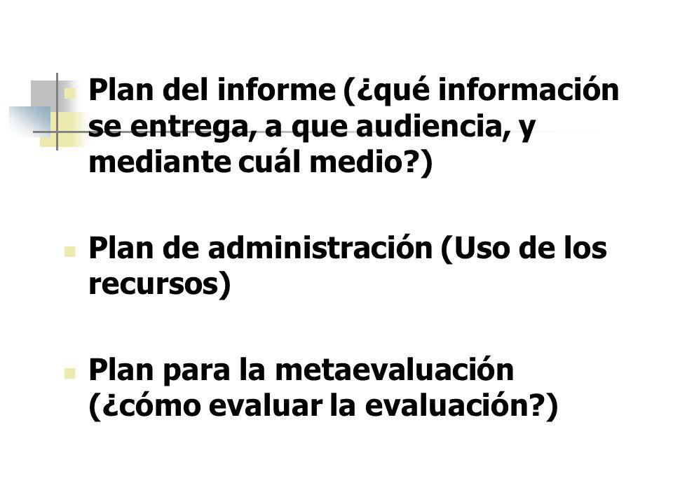 Plan del informe (¿qué información se entrega, a que audiencia, y mediante cuál medio?) Plan de administración (Uso de los recursos) Plan para la meta