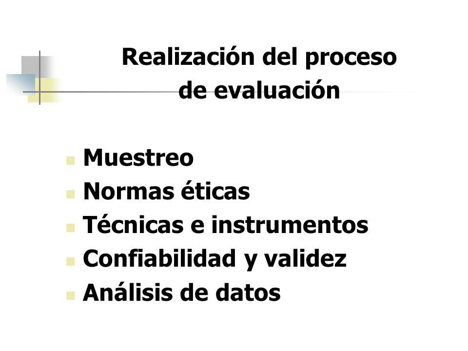 Realización del proceso de evaluación Muestreo Normas éticas Técnicas e instrumentos Confiabilidad y validez Análisis de datos