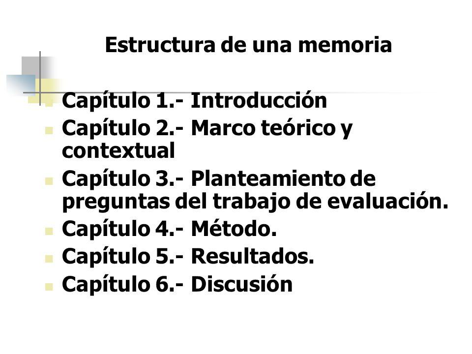 Estructura de una memoria Capítulo 1.- Introducción Capítulo 2.- Marco teórico y contextual Capítulo 3.- Planteamiento de preguntas del trabajo de eva