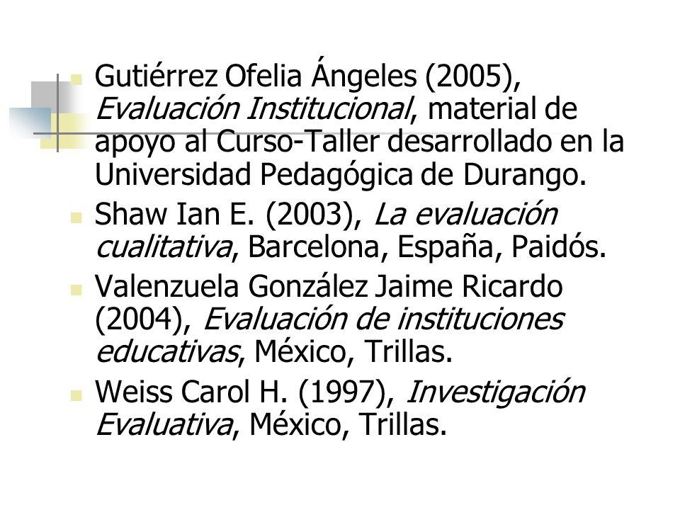 Gutiérrez Ofelia Ángeles (2005), Evaluación Institucional, material de apoyo al Curso-Taller desarrollado en la Universidad Pedagógica de Durango. Sha