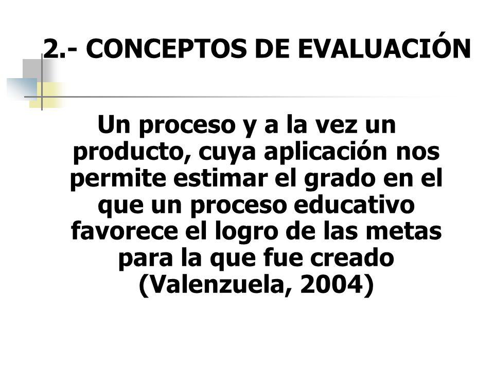 2.- CONCEPTOS DE EVALUACIÓN Un proceso y a la vez un producto, cuya aplicación nos permite estimar el grado en el que un proceso educativo favorece el