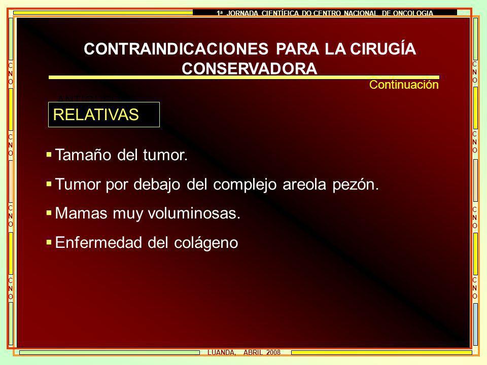 1 a JORNADA CIENTÍFICA DO CENTRO NACIONAL DE ONCOLOGIA CNOCNO CNOCNO CNOCNO CNOCNO CNOCNO CNOCNO CNOCNO CNOCNO LUANDA, ABRIL 2008 CONTRAINDICACIONES P