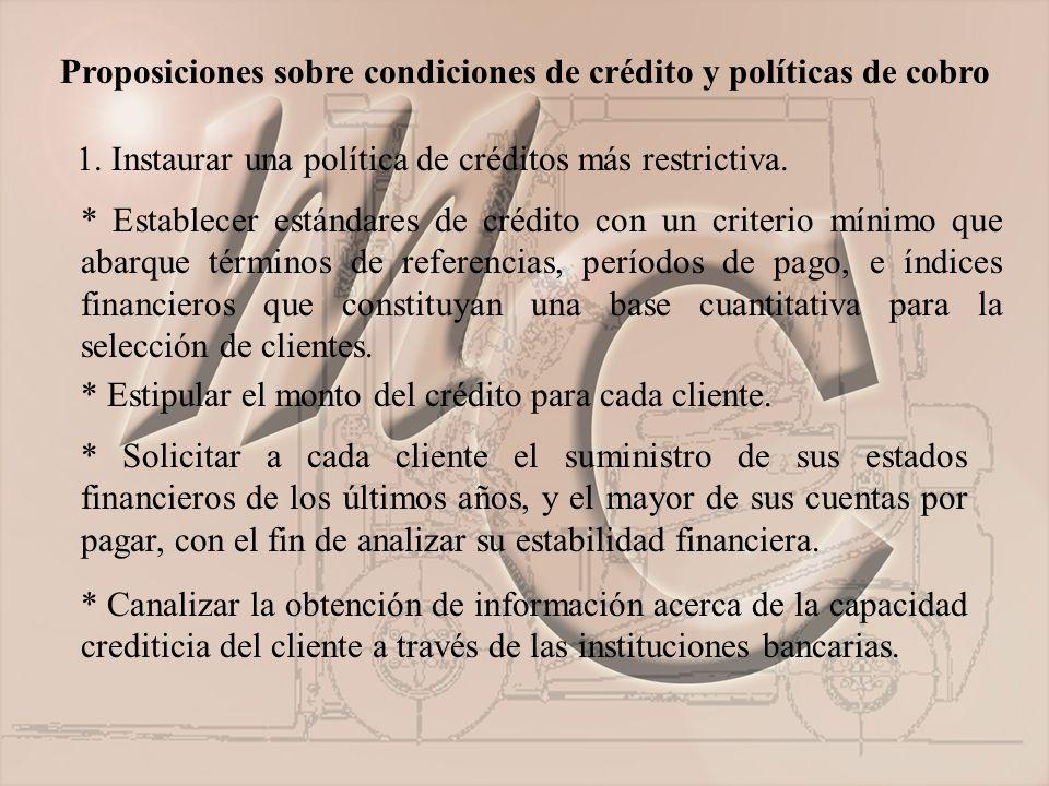 Proposiciones sobre condiciones de crédito y políticas de cobro 1.