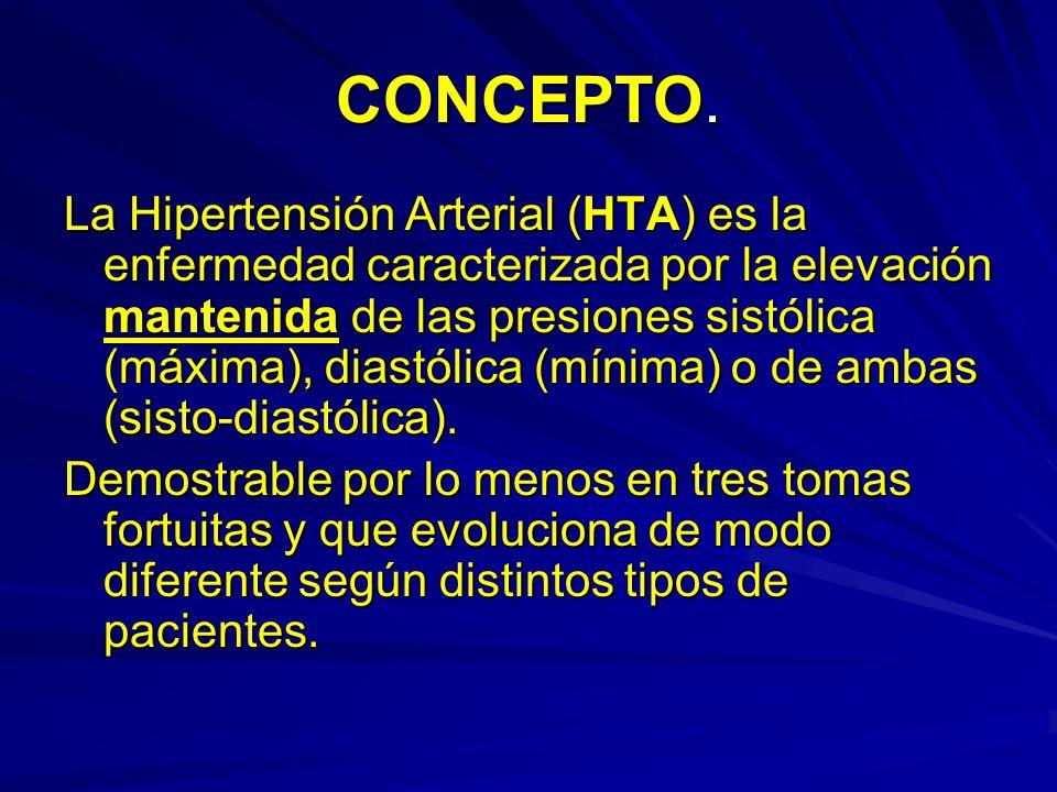 CONCEPTO. La Hipertensión Arterial (HTA) es la enfermedad caracterizada por la elevación mantenida de las presiones sistólica (máxima), diastólica (mí