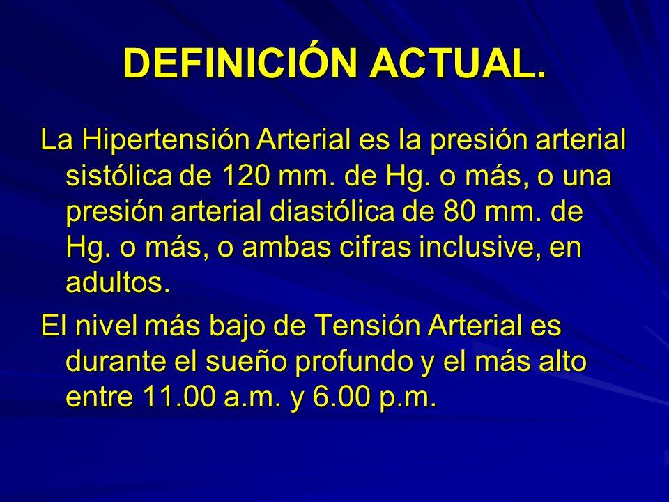 DEFINICIÓN ACTUAL. La Hipertensión Arterial es la presión arterial sistólica de 120 mm. de Hg. o más, o una presión arterial diastólica de 80 mm. de H