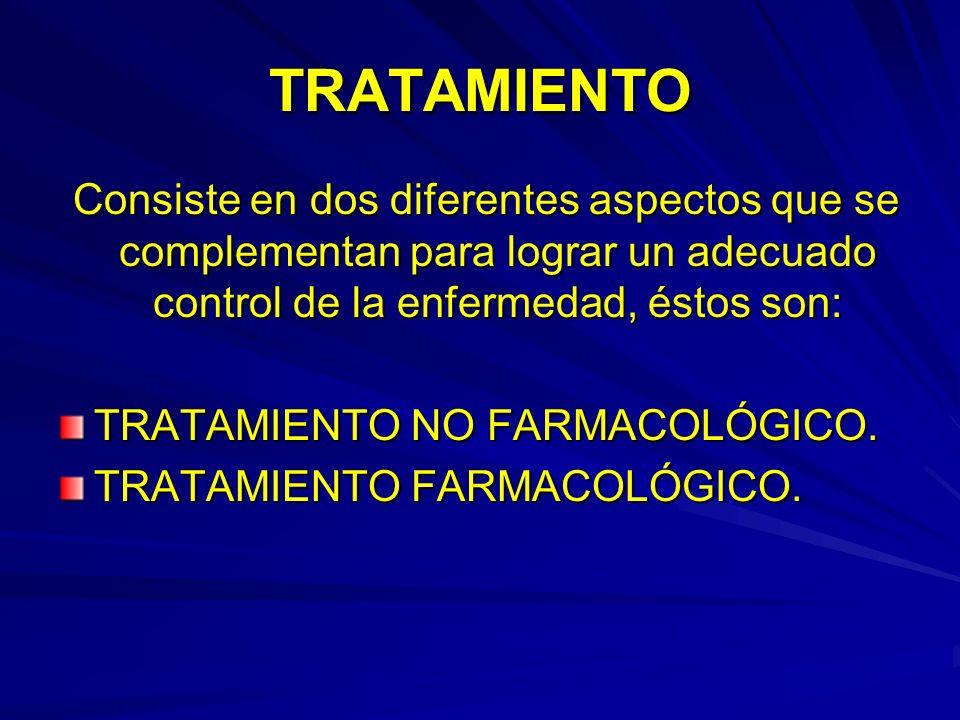 TRATAMIENTO Consiste en dos diferentes aspectos que se complementan para lograr un adecuado control de la enfermedad, éstos son: Consiste en dos difer