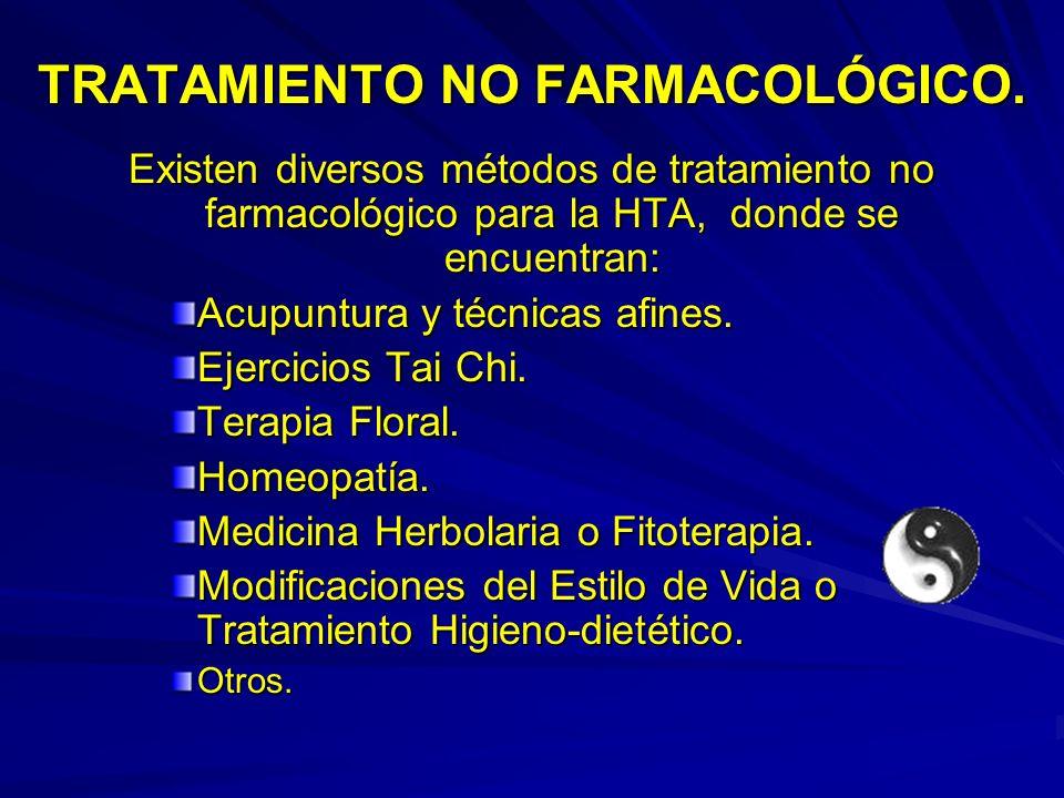 TRATAMIENTO NO FARMACOLÓGICO. Existen diversos métodos de tratamiento no farmacológico para la HTA, donde se encuentran: Acupuntura y técnicas afines.
