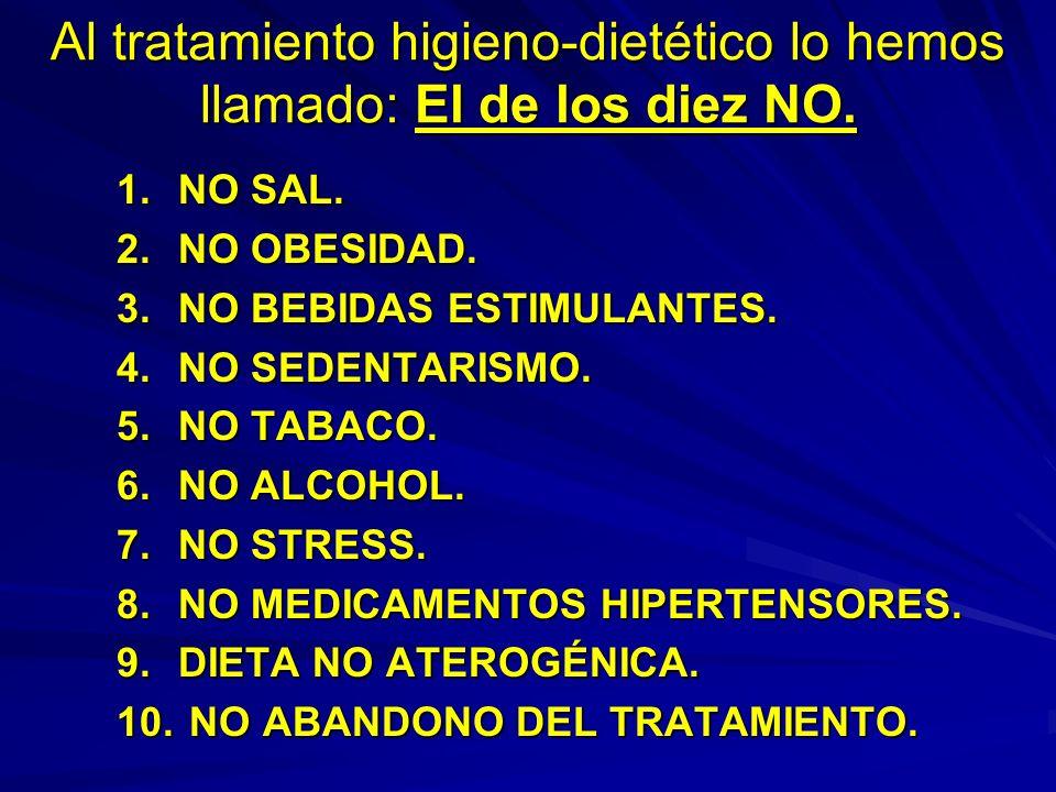 Al tratamiento higieno-dietético lo hemos llamado: El de los diez NO. 1.NO SAL. 2.NO OBESIDAD. 3.NO BEBIDAS ESTIMULANTES. 4.NO SEDENTARISMO. 5.NO TABA