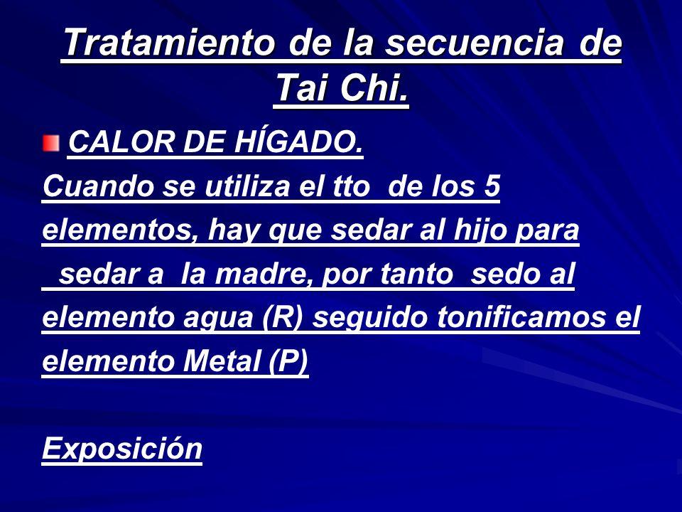 Tratamiento de la secuencia de Tai Chi. CALOR DE HÍGADO. Cuando se utiliza el tto de los 5 elementos, hay que sedar al hijo para sedar a la madre, por