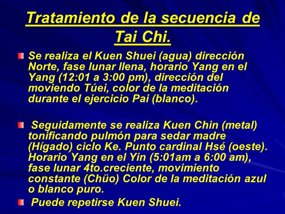 Tratamiento de la secuencia de Tai Chi. Se realiza el Kuen Shuei (agua) dirección Norte, fase lunar llena, horario Yang en el Yang (12:01 a 3:00 pm),