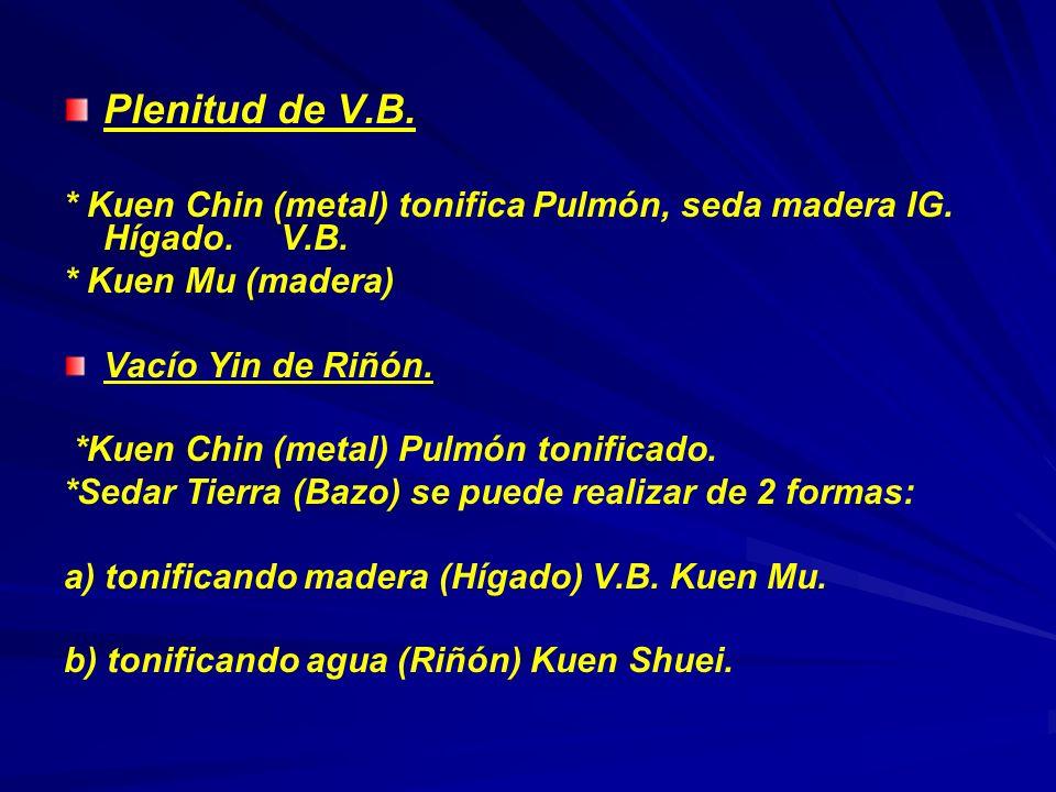 Plenitud de V.B. * Kuen Chin (metal) tonifica Pulmón, seda madera IG. Hígado. V.B. * Kuen Mu (madera) Vacío Yin de Riñón. *Kuen Chin (metal) Pulmón to