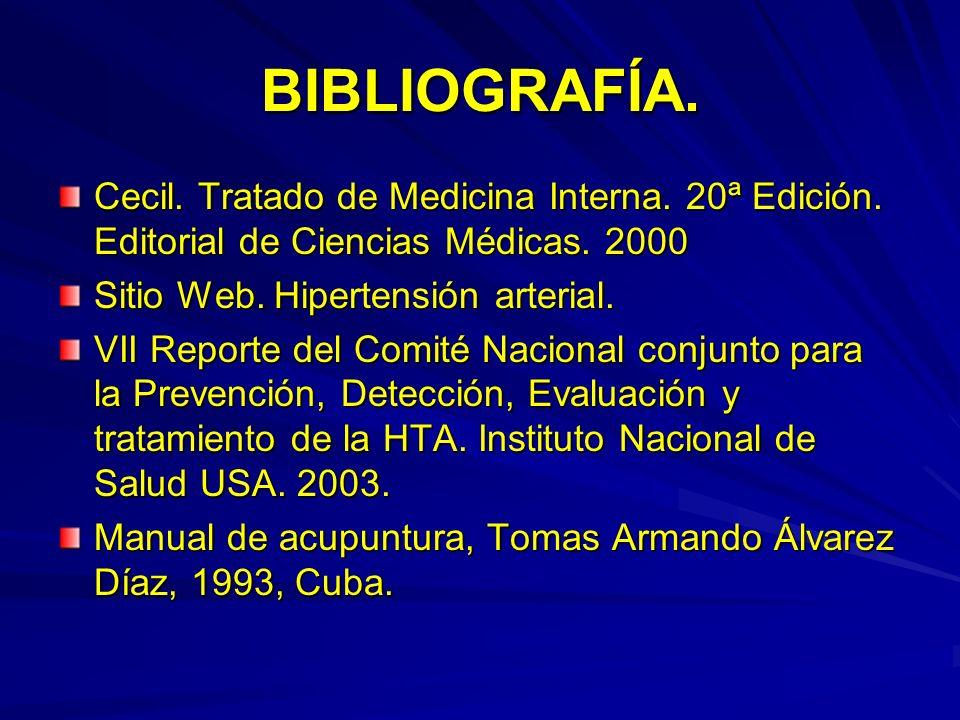 BIBLIOGRAFÍA. Cecil. Tratado de Medicina Interna. 20ª Edición. Editorial de Ciencias Médicas. 2000 Sitio Web. Hipertensión arterial. VII Reporte del C