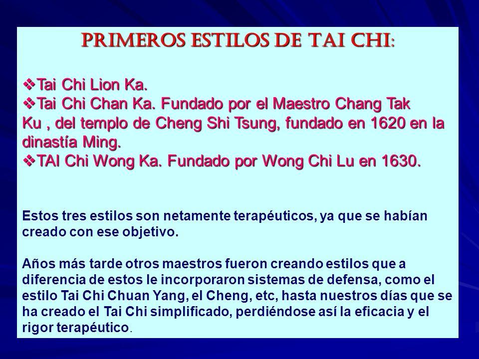 NOMBRE:LION KA NAN CHUNG KUO TAI CHI Estilo creado por el eminente médico chino Doctor Lion Hoy Li, en el año 1595 de la dinastía Ming y es el más cercano al templo de Cheng Shi Tsung, este es el más cercano al templo Cheng Shi Tsung, este famoso médico basó sus estudios en la relación existente entre los cinco elementos, los cinco puntos cardinales chinos, las fases lunares, los horarios Yin Yang y los cinco colores primarios con las enfermedades del hombre, así confeccionó un ingenioso programa que se conoce como la tabla de tratamiento.