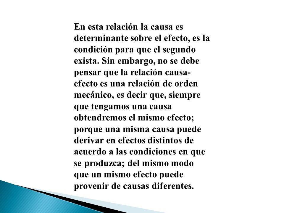 En esta relación la causa es determinante sobre el efecto, es la condición para que el segundo exista. Sin embargo, no se debe pensar que la relación