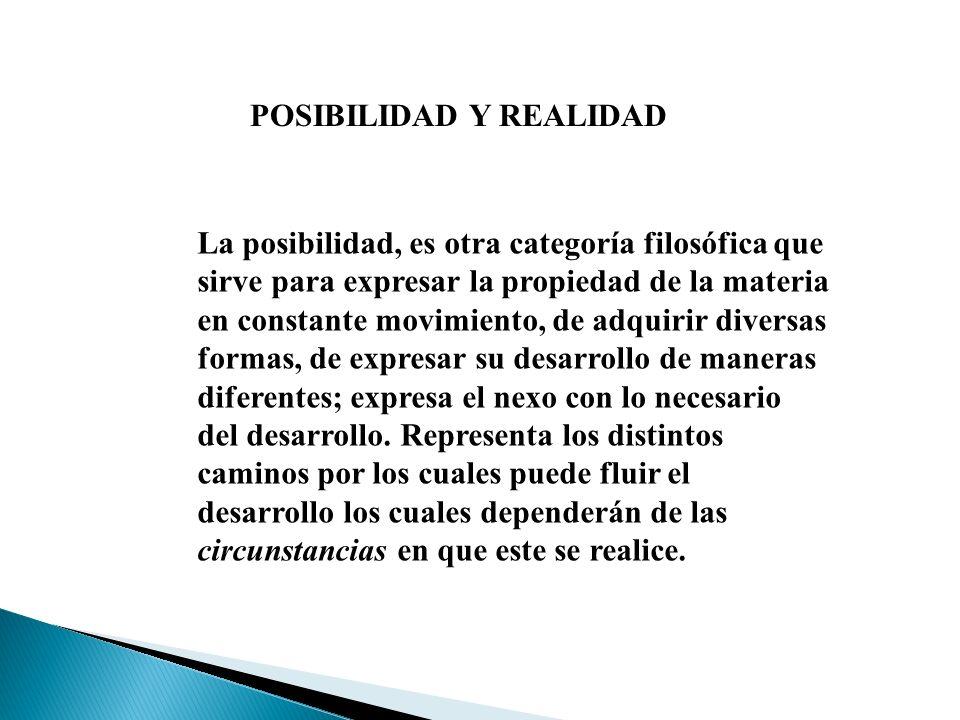 POSIBILIDAD Y REALIDAD La posibilidad, es otra categoría filosófica que sirve para expresar la propiedad de la materia en constante movimiento, de adq