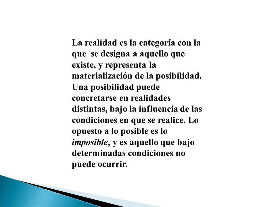 La realidad es la categoría con la que se designa a aquello que existe, y representa la materialización de la posibilidad. Una posibilidad puede concr