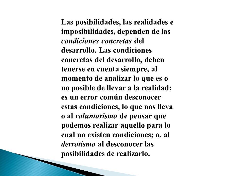 Las posibilidades, las realidades e imposibilidades, dependen de las condiciones concretas del desarrollo. Las condiciones concretas del desarrollo, d