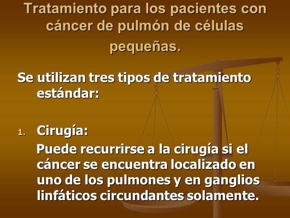 Tratamiento para los pacientes con cáncer de pulmón de células pequeñas.