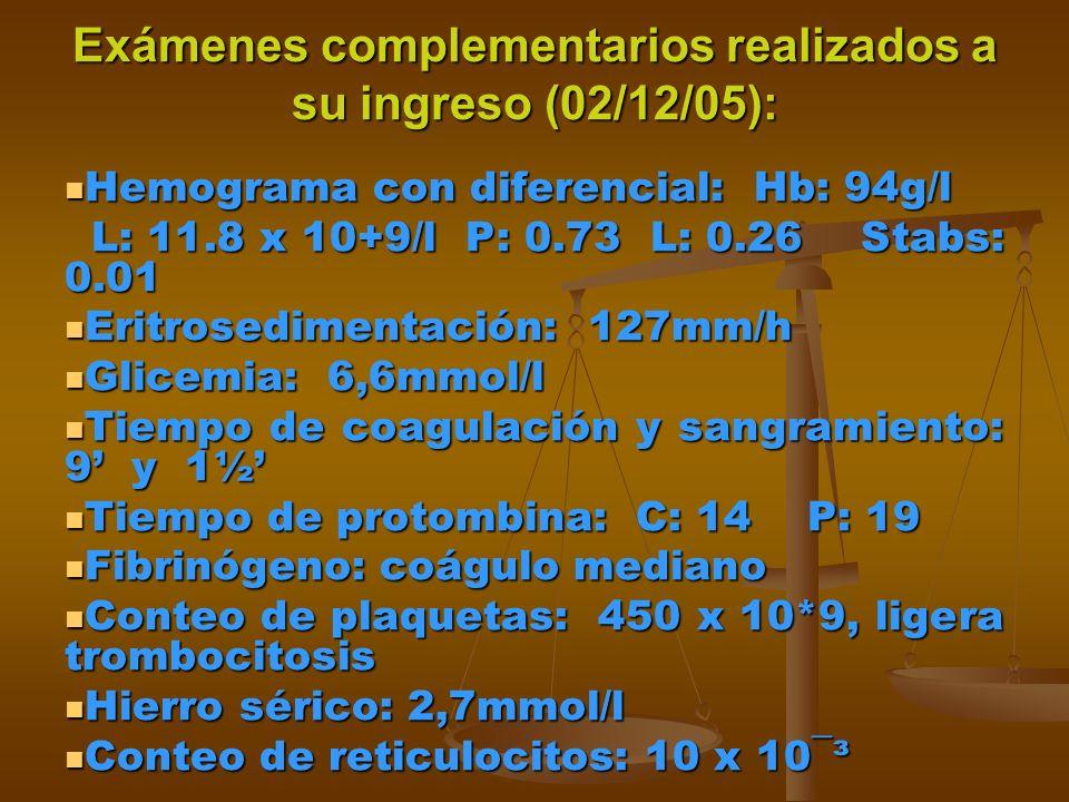 Exámenes complementarios realizados a su ingreso (02/12/05): Hemograma con diferencial: Hb: 94g/l Hemograma con diferencial: Hb: 94g/l L: 11.8 x 10+9/l P: 0.73 L: 0.26 Stabs: 0.01 L: 11.8 x 10+9/l P: 0.73 L: 0.26 Stabs: 0.01 Eritrosedimentación: 127mm/h Eritrosedimentación: 127mm/h Glicemia: 6,6mmol/l Glicemia: 6,6mmol/l Tiempo de coagulación y sangramiento: 9 y 1½ Tiempo de coagulación y sangramiento: 9 y 1½ Tiempo de protombina: C: 14 P: 19 Tiempo de protombina: C: 14 P: 19 Fibrinógeno: coágulo mediano Fibrinógeno: coágulo mediano Conteo de plaquetas: 450 x 10*9, ligera trombocitosis Conteo de plaquetas: 450 x 10*9, ligera trombocitosis Hierro sérico: 2,7mmol/l Hierro sérico: 2,7mmol/l Conteo de reticulocitos: 10 x 10¯³ Conteo de reticulocitos: 10 x 10¯³