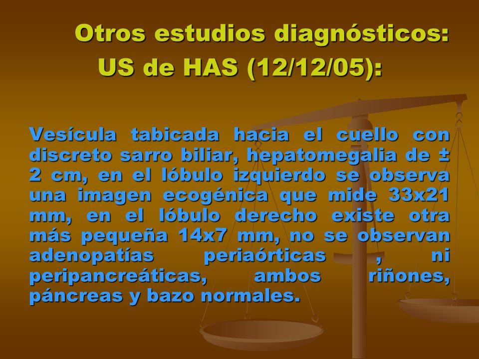 Otros estudios diagnósticos: US de HAS (12/12/05): Otros estudios diagnósticos: US de HAS (12/12/05): Vesícula tabicada hacia el cuello con discreto sarro biliar, hepatomegalia de ± 2 cm, en el lóbulo izquierdo se observa una imagen ecogénica que mide 33x21 mm, en el lóbulo derecho existe otra más pequeña 14x7 mm, no se observan adenopatías periaórticas, ni peripancreáticas, ambos riñones, páncreas y bazo normales.