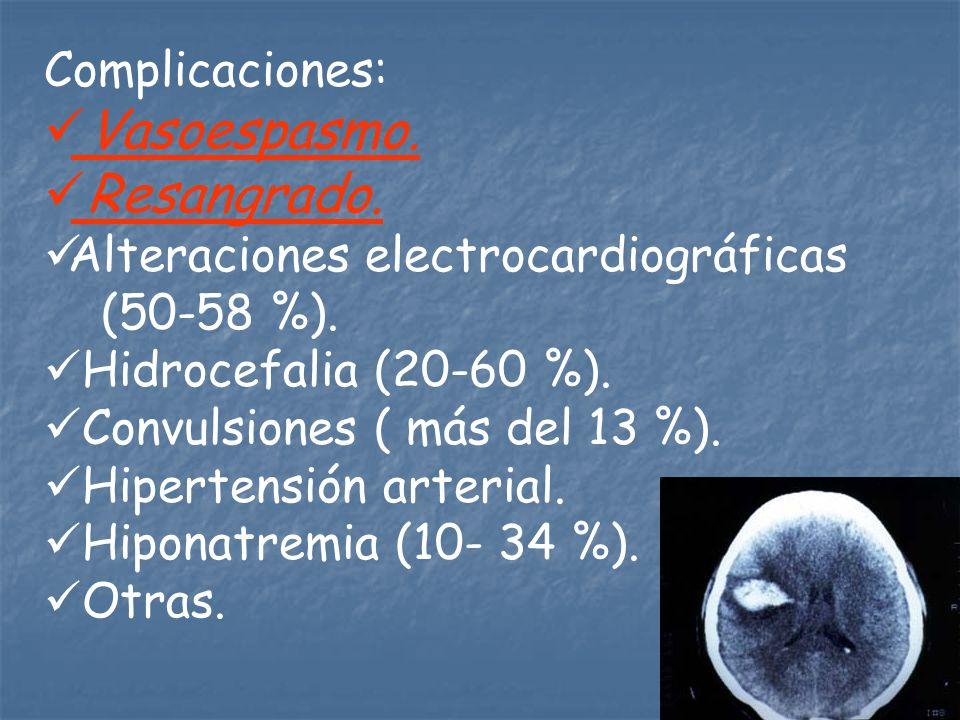 Complicaciones: Vasoespasmo. Resangrado. Alteraciones electrocardiográficas (50-58 %). Hidrocefalia (20-60 %). Convulsiones ( más del 13 %). Hipertens