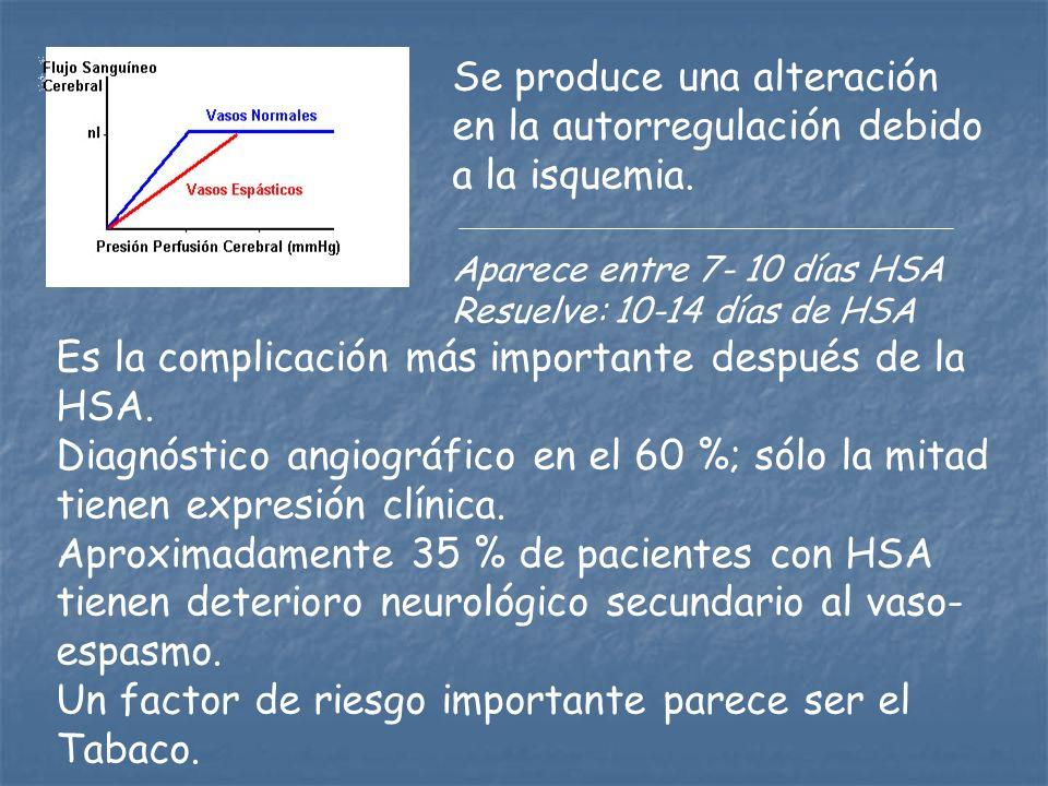 Se produce una alteración en la autorregulación debido a la isquemia. Aparece entre 7- 10 días HSA Resuelve: 10-14 días de HSA Es la complicación más
