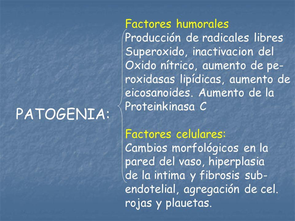 PATOGENIA: Factores humorales Producción de radicales libres Superoxido, inactivacion del Oxido nítrico, aumento de pe- roxidasas lipídicas, aumento d