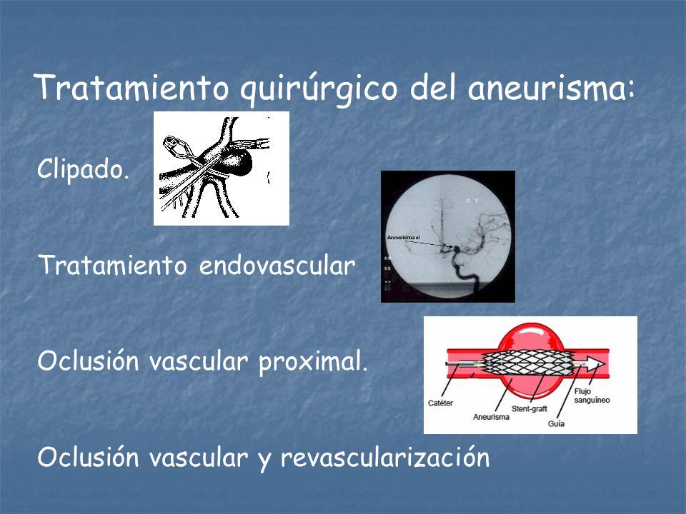 Tratamiento quirúrgico del aneurisma: Clipado. Tratamiento endovascular Oclusión vascular proximal. Oclusión vascular y revascularización