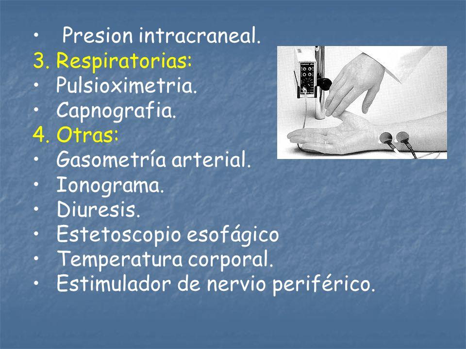 Presion intracraneal. 3. Respiratorias: Pulsioximetria. Capnografia. 4. Otras: Gasometría arterial. Ionograma. Diuresis. Estetoscopio esofágico Temper