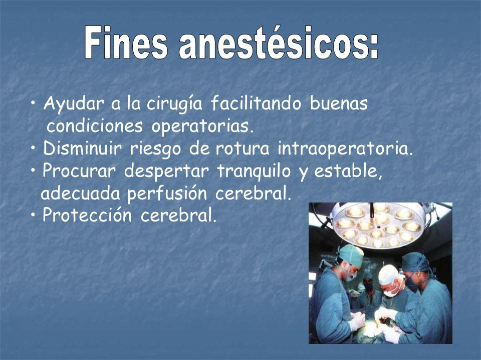 Ayudar a la cirugía facilitando buenas condiciones operatorias. Disminuir riesgo de rotura intraoperatoria. Procurar despertar tranquilo y estable, ad