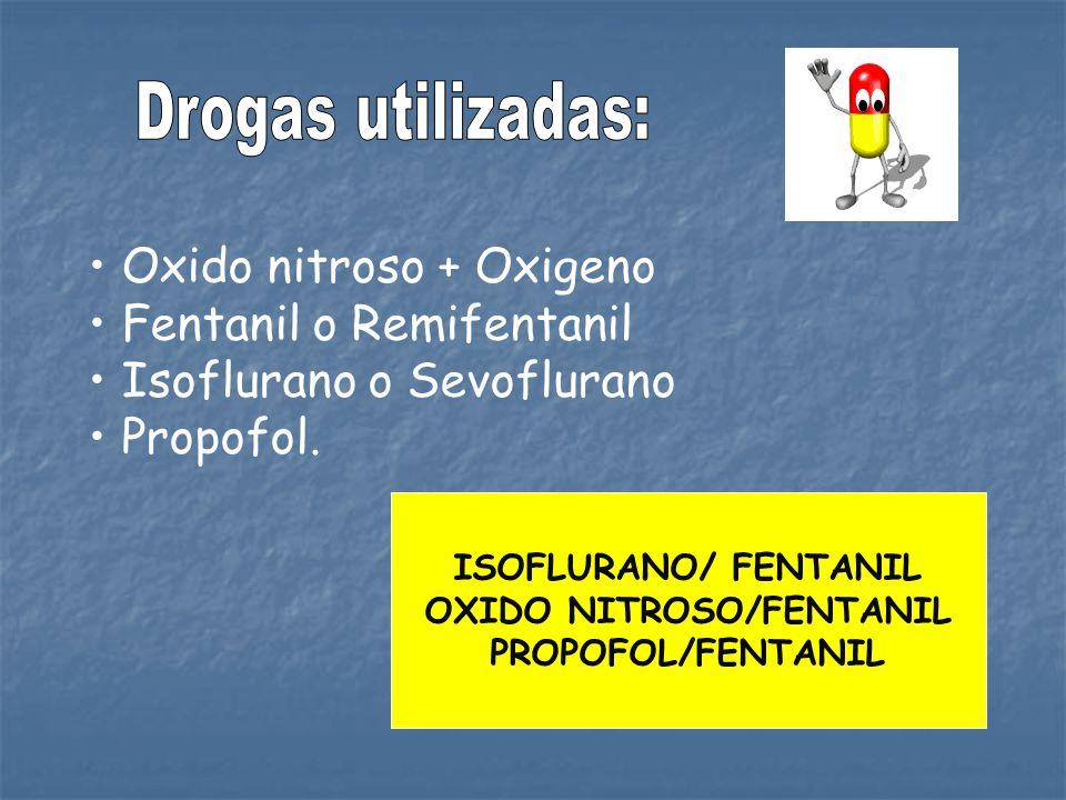 Oxido nitroso + Oxigeno Fentanil o Remifentanil Isoflurano o Sevoflurano Propofol. ISOFLURANO/ FENTANIL OXIDO NITROSO/FENTANIL PROPOFOL/FENTANIL