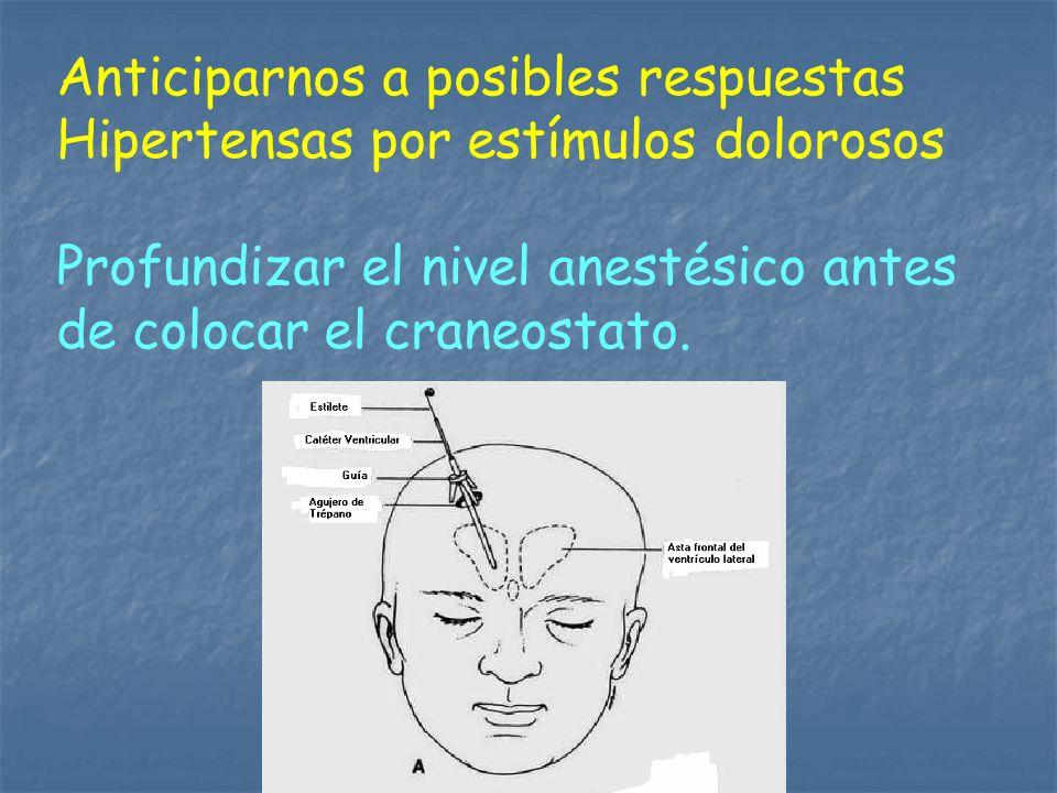 Anticiparnos a posibles respuestas Hipertensas por estímulos dolorosos Profundizar el nivel anestésico antes de colocar el craneostato.