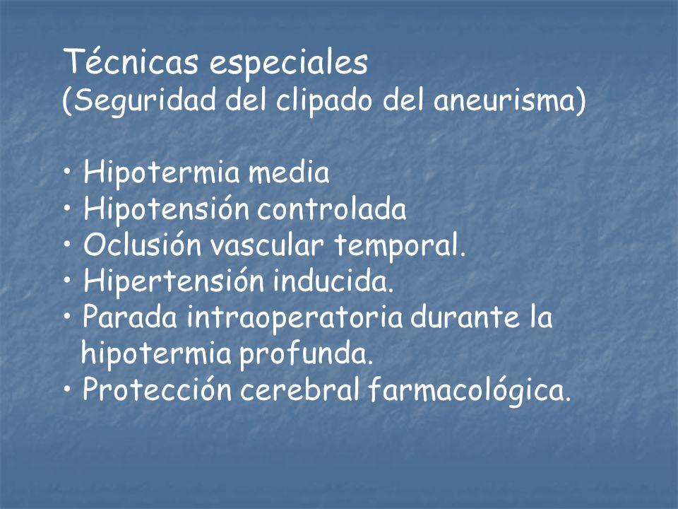 Técnicas especiales (Seguridad del clipado del aneurisma) Hipotermia media Hipotensión controlada Oclusión vascular temporal. Hipertensión inducida. P