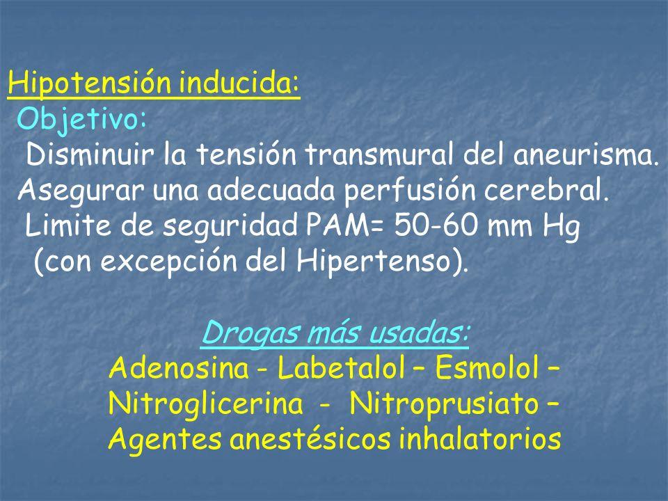 Hipotensión inducida: Objetivo: Disminuir la tensión transmural del aneurisma. Asegurar una adecuada perfusión cerebral. Limite de seguridad PAM= 50-6