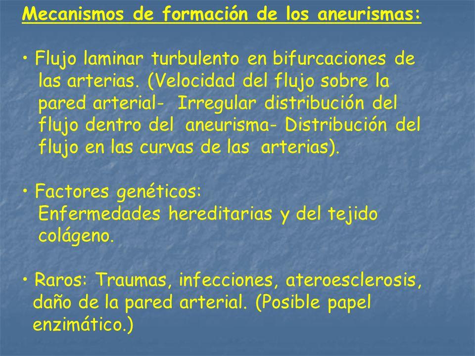Mecanismos de formación de los aneurismas: Flujo laminar turbulento en bifurcaciones de las arterias. (Velocidad del flujo sobre la pared arterial- Ir