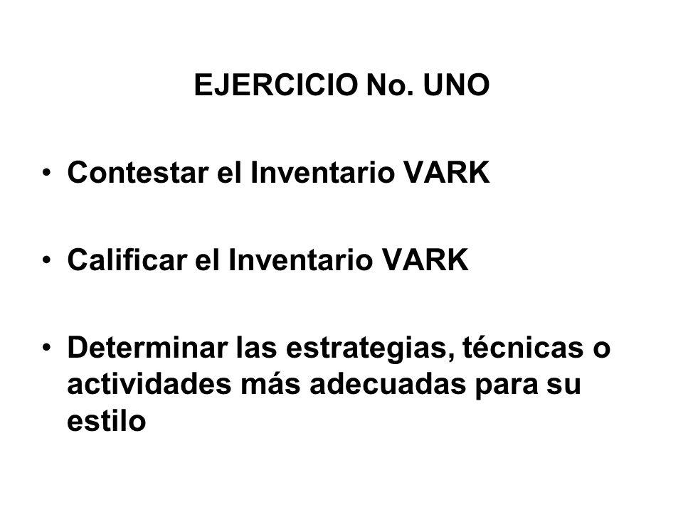 EJERCICIO No. UNO Contestar el Inventario VARK Calificar el Inventario VARK Determinar las estrategias, técnicas o actividades más adecuadas para su e